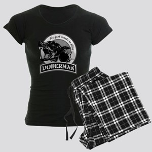 Doberman white Women's Dark Pajamas