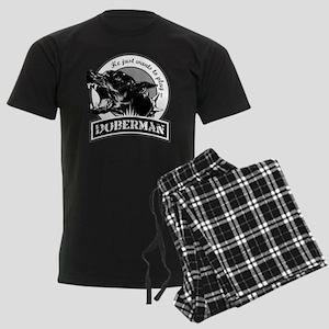 Doberman white Men's Dark Pajamas