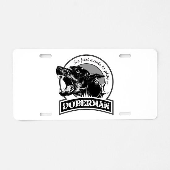 Doberman white Aluminum License Plate