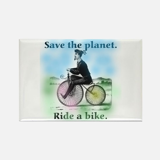 Save the Planet Ride a Bike Rectangle Magnet