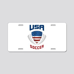 Soccer Crest USA blue Aluminum License Plate
