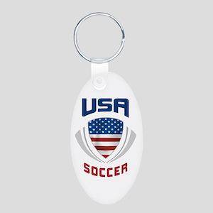 Soccer Crest USA blue Aluminum Oval Keychain