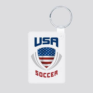 Soccer Crest USA blue Aluminum Photo Keychain