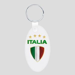 Soccer Crest ITALIA gold Aluminum Oval Keychain