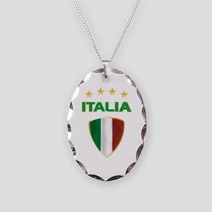 Soccer Crest ITALIA gold Necklace Oval Charm