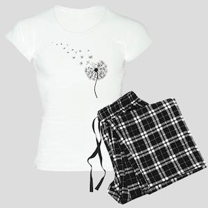 Blowing Dandelion Black Women's Light Pajamas