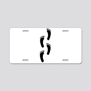 Footprints Aluminum License Plate