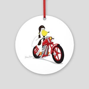 Pelican Biker Ornament (Round)