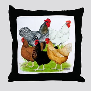 Sex-link Chicken Quintet Throw Pillow