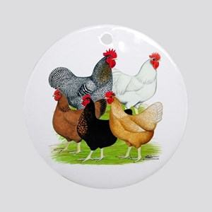 Sex-link Chicken Quintet Ornament (Round)