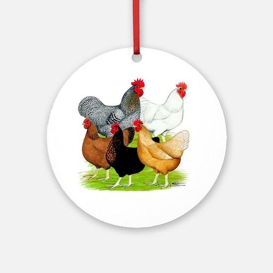Sex-link Chicken Quintet Ornament (Round)