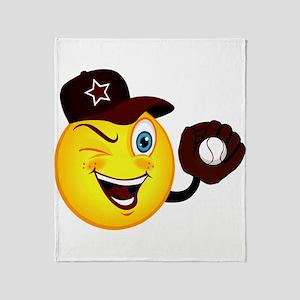 SMILEY {2} softball -crimson- Throw Blanket