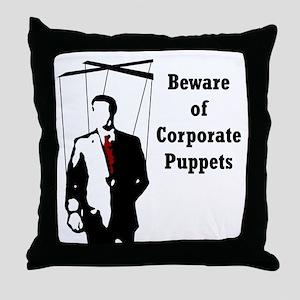 Corporate Puppet Throw Pillow