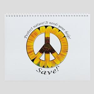 Wall Calendar Peace Sunflower