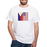 Philippine & US Flags White T-Shirt