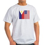 Philippine & US Flags Ash Grey T-Shirt