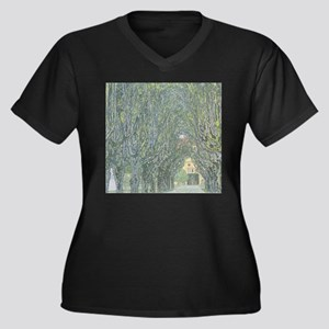 Avenue of Trees Women's Plus Size V-Neck Dark T-Sh