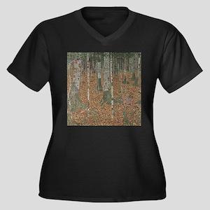 Birch Forest Women's Plus Size V-Neck Dark T-Shirt