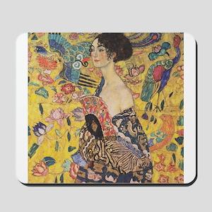Woman with Fan Mousepad