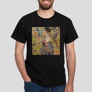 Woman with Fan Dark T-Shirt