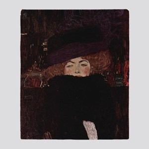 Woman with Hat and Feather Bo Throw Blanket