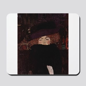 Woman with Hat and Feather Bo Mousepad