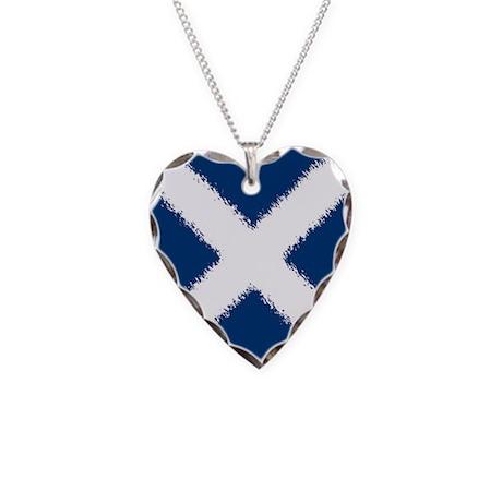 Scottish Flag Necklace Heart Charm