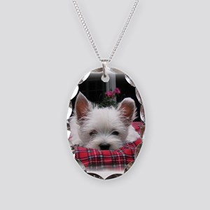 Innocent? Westie Pup Necklace Oval Charm