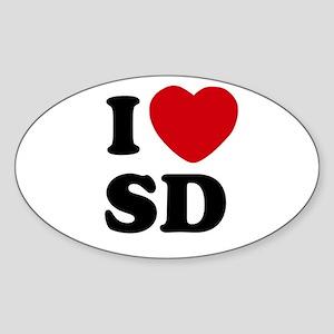 I Heart SD San Diego Sticker (Oval)