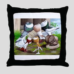 Six Pouter Pigeons Throw Pillow