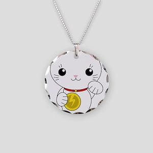 Maneki Neko - White Lucky Cat Necklace Circle Char