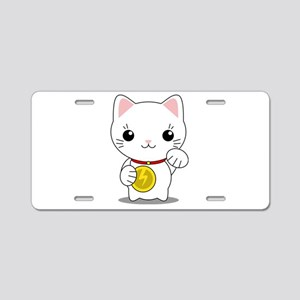 Maneki Neko - White Lucky Cat Aluminum License Pla