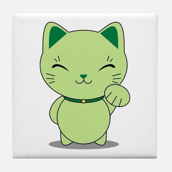 Maneki Neko - Green Lucky Cat Tile Coaster