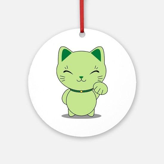 Maneki Neko - Green Lucky Cat Ornament (Round)