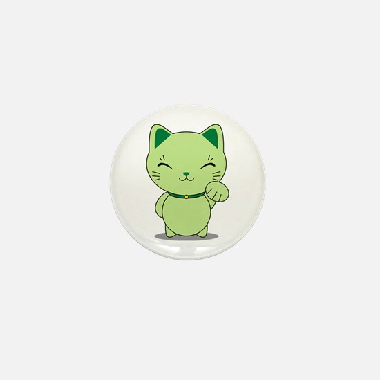Maneki Neko - Green Lucky Cat Mini Button