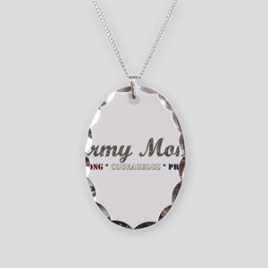 Army Mom:Strong Courageous Pr Necklace Oval Charm