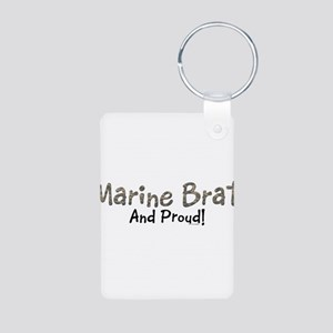 Proud Marine Brat Aluminum Photo Keychain