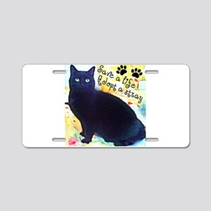 Stray Black Kitty Aluminum License Plate