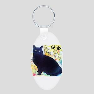 Stray Black Kitty Aluminum Oval Keychain