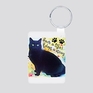 Stray Black Kitty Aluminum Photo Keychain