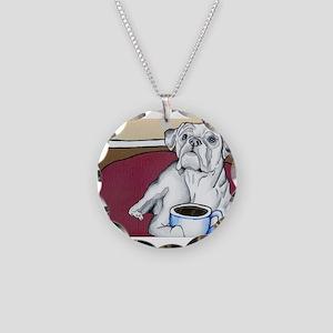 Coffee Boxer (white) Necklace Circle Charm