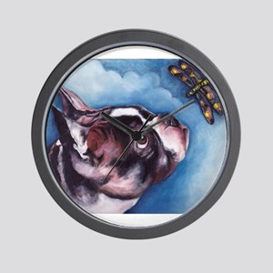 Boston Terrier and Dragonfly Wall Clock