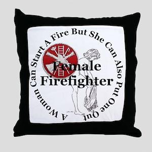 Firefighting Female Throw Pillow