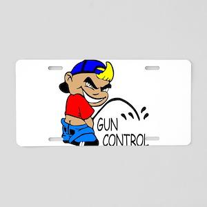 P On Gun Control Aluminum License Plate