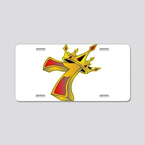 Lucky 7 Crown Tattoo Aluminum License Plate