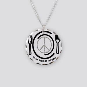 Peace on Plate Necklace Circle Charm