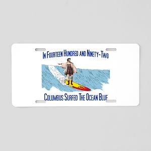 Columbus Surfed Aluminum License Plate