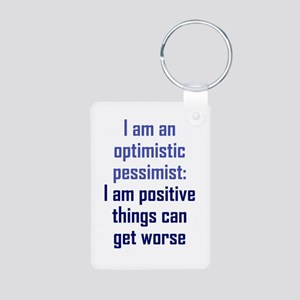 Optimistic Pessimist Aluminum Photo Keychain
