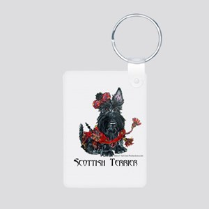 Celtic Scottish Terrier Aluminum Photo Keychain