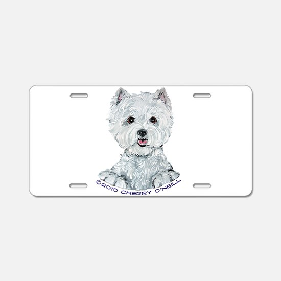 Lovable Westie Aluminum License Plate